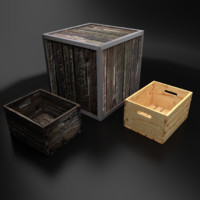 3d wooden crates open model