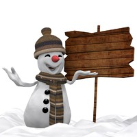 3d model snowman cartoon winter
