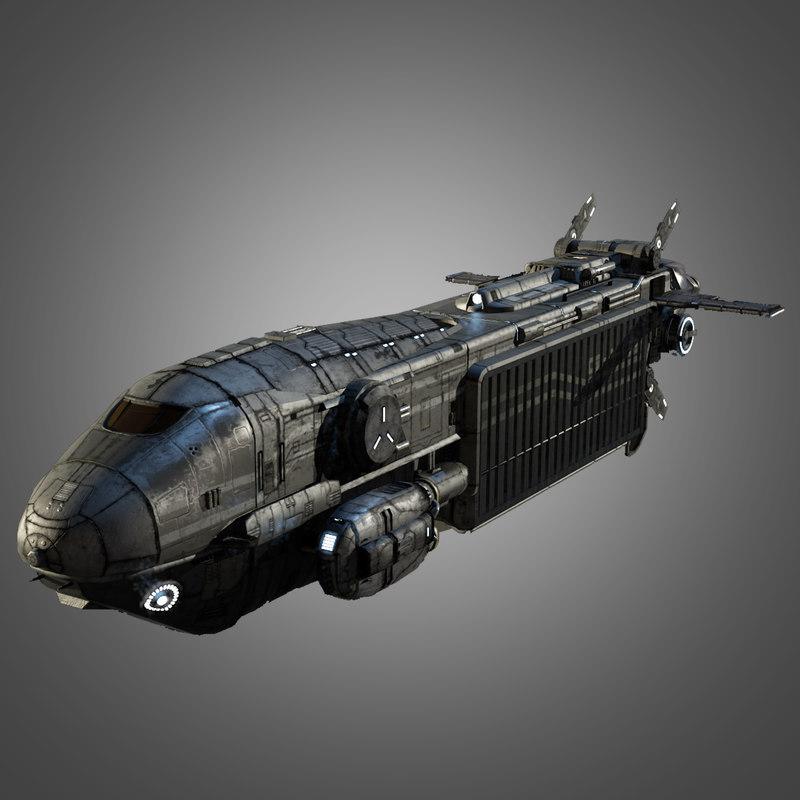 3d sci fi space transport ship