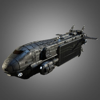 sci-fi space transport ship obj