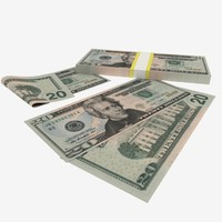 3d 20 dollars banknote