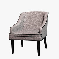 3d model of carsen fabric accent chair