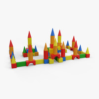 children toy blocks castle 3d max