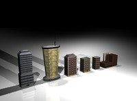 set mini buildings fbx