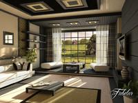 living room scene 3d model