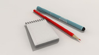 paper notebook pen pencil 3d model