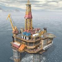 3d model oil rig platform