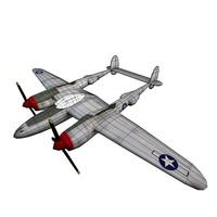 p-38 lightning 3d model