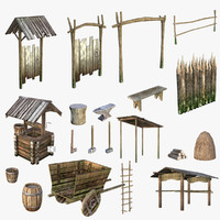 medieval village 3d 3ds