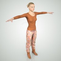 3d photorealistic blond female character model