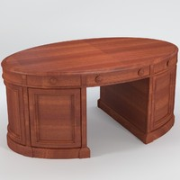 oval desk uv layout 3d model