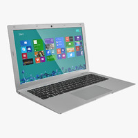 3d model of silver laptop 15 6