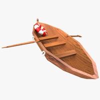wood boat 3d obj