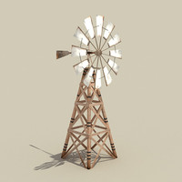 3d model low-poly windmill wind