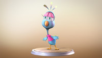 3d peacock cartoon character rigged model
