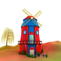 small windmill house 3d max
