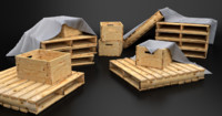 Pallet Crate and Tarp Game Asset Pack