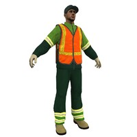 3d model garbage worker man
