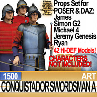 Props Set Poser Daz for Conquistador Swordsman A 1500