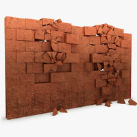 3d model of broken wall