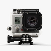3d low-poly gopro hero3 camera