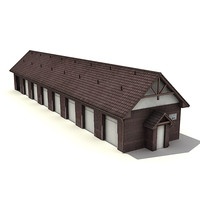 3d low-poly warehouse garage model
