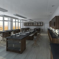 3d interior scientific laboratory scene model