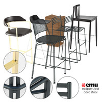 3d modern bar stool set model