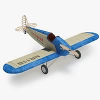 3d model vintage airplane