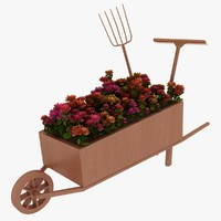 wheelbarrow flower 3d 3ds