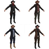 pack cowboy man 3d model