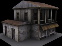 3d model weathered house