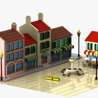 3d model cartoon town square