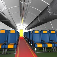 3d cartoon aircraft cabin