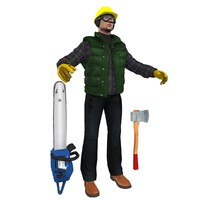 lumberjack worker man 3d model