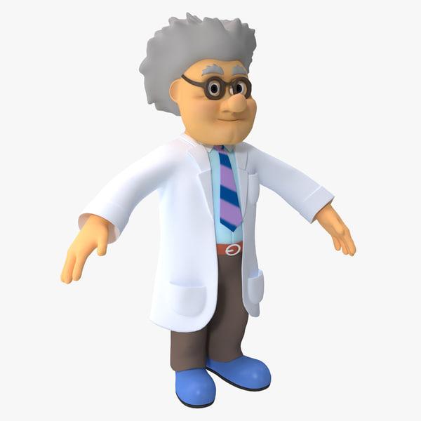 Cartoon Scientist toon fantasy lab laboratory human man guy male body people anatomy head vray mad wacky