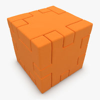 3d model of realistic happy cube orange