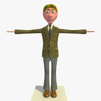 3d vincent business man cartoon character model