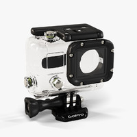 3d low-poly gopro hero3 waterhousing model