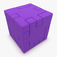 3d model realistic happy cube purple