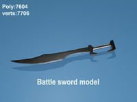 battle sword 3d obj