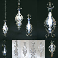 3d model of set elven lamps hanging