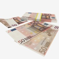 3d model 50 fifty euro banknote