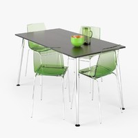 3d dining table set model