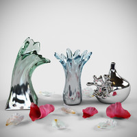 3d model silver splash vases