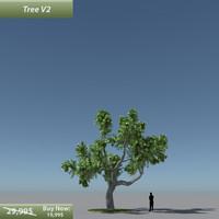 tree oak v2 3d max