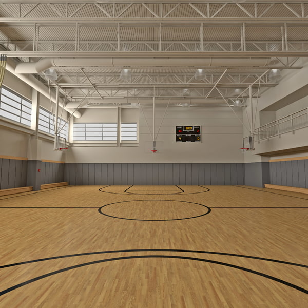 Basketball Gym court gymnasium venue sport interior center floor building vray