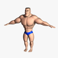 bodybuilder cartoon character rigged max