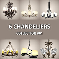 3d model 6 chandelier lights