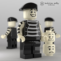 3d model lego mime figure